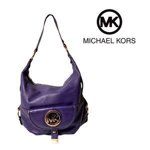 Michael Kors Purple Leather Gold Emblem Satchel Purse